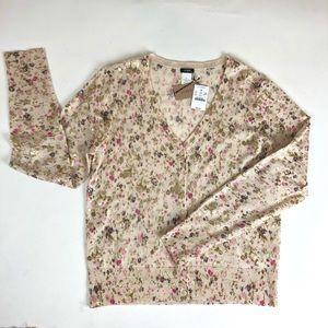 J. Crew NEW size XL Merino Wool Pink Gold Cardigan